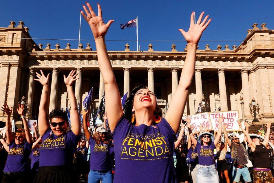 Thousands+of+women+attending+a+rally+in+Melbourne.