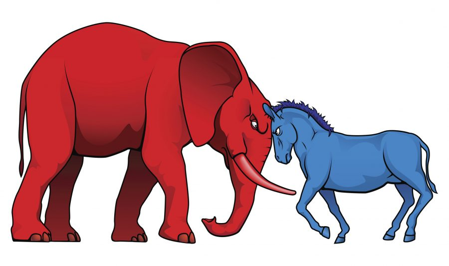 The democrat and republican symbols of a donkey and elephant facing off.