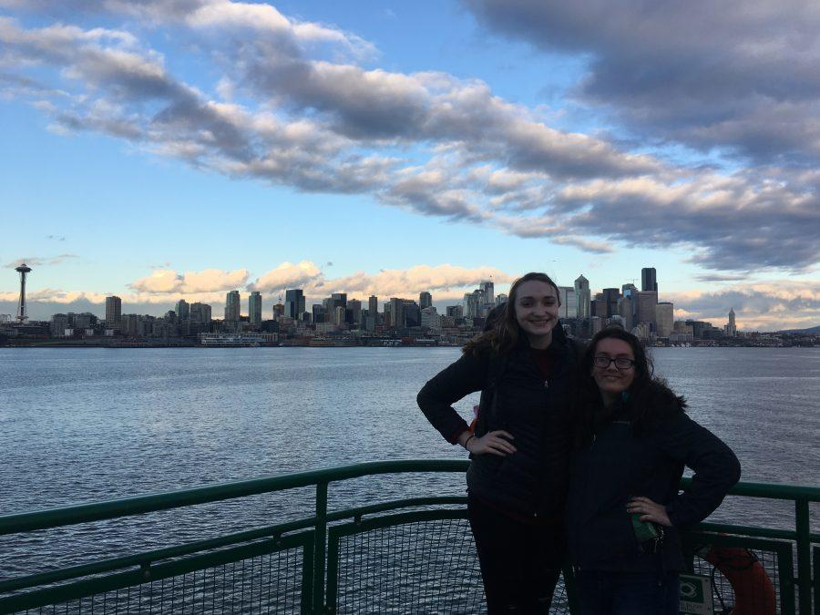 Seniors Alona Arneson and Lizzy Elkins, ending their excursion the right way with some photos on the Washington State Ferry.