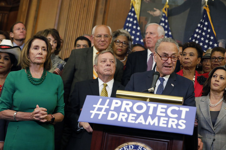 Senator Chuck Schumer and Minority Leader Nancy Pelosi along with other Representatives stand together in a joint statement to pledge their support to help Dreamers.