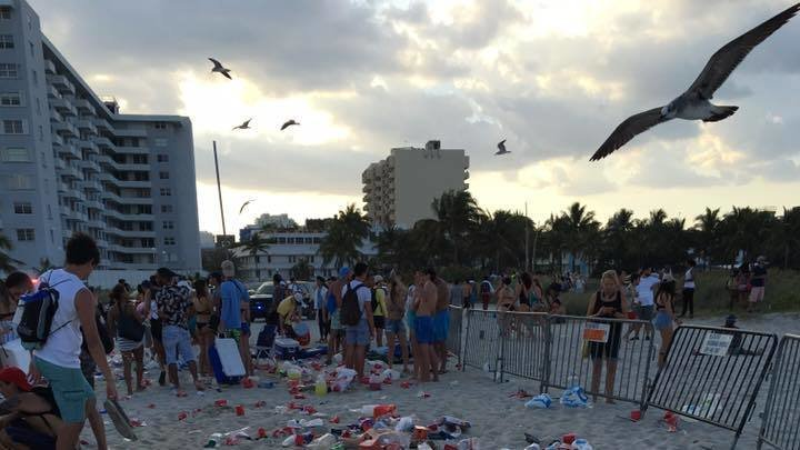 Miami Beach is covered with garbage and other waste after the party ends.