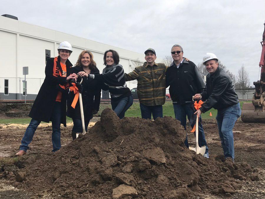 The BFAN Board members break ground on the project