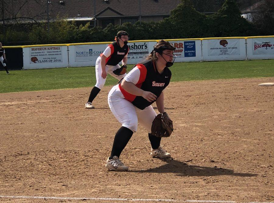 A varsity softball game against the McKay Scots.