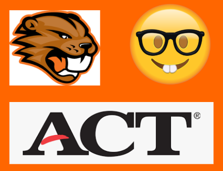 Bucky and a nerd emoji look warily at the ACT logo beneath them.