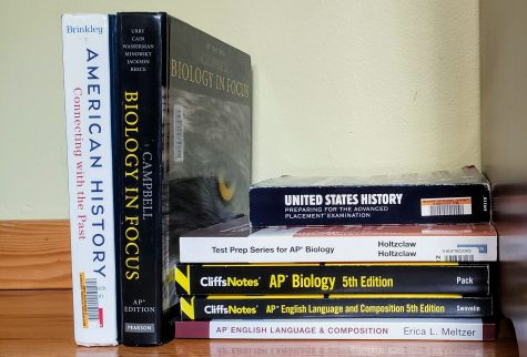 A set of AP preparation books and textbooks.