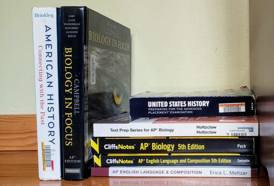 A+set+of+AP+preparation+books+and+textbooks.+