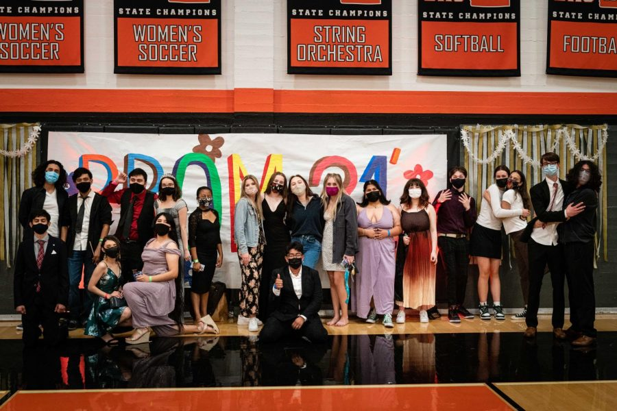 Students take a group photo in the main gym at this year's Prom, which occurred on campus on June 5.