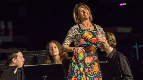 Beaverton High School band director Mary Bengel, who recently announced she would be changing her teaching focus, at the 2017 fall band concert.